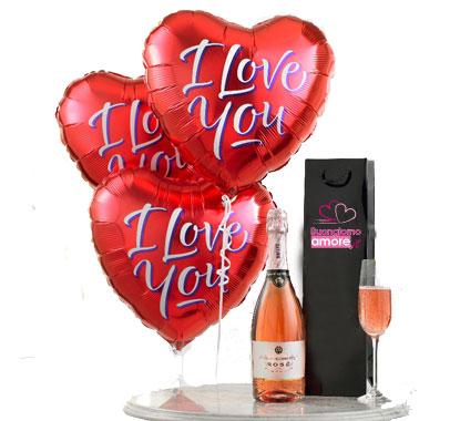 Palloncini + champagne + 2 flutes